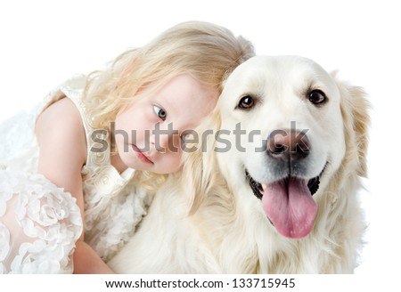 close up Golden Retriever and girl. looking at camera. isolated on white background