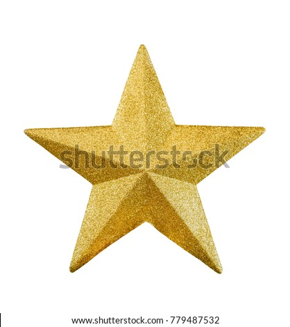 Close up golden star isolated on white background #779487532