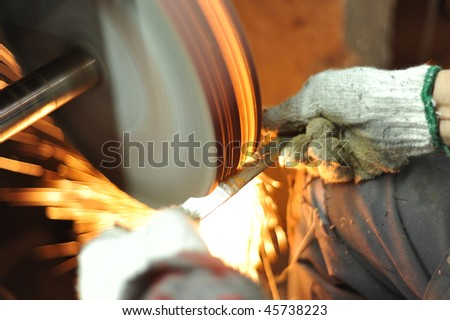 Close-up grinding metal, production tool industry