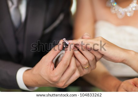 Close up Groom Put the Wedding Ring on bride