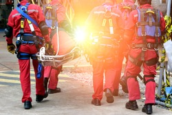 Close-up group of Rescue fireman team with safety equipment ,harness and safety belts,Rescue concept.