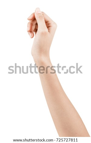 Close up Hand and arm  on white  background With clipping path. Can use for isolated or Show your product. #725727811