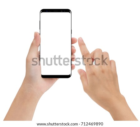 close-up hand hold and touching on phone mobile isolated white background #712469890