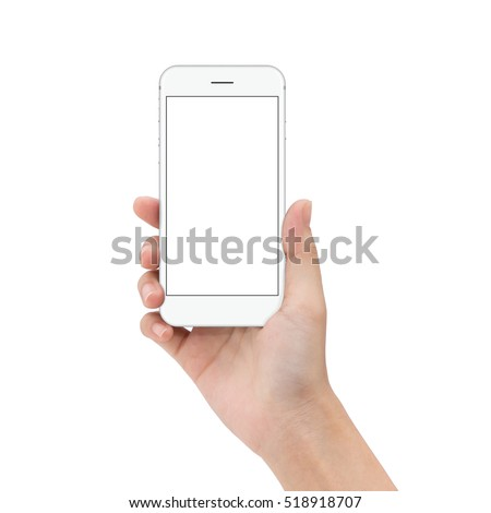 close up hand hold phone isolated on white, mock-up smartphone white color blank screen #518918707