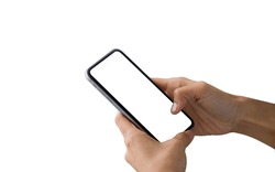 Close up hand holding black smartphone with white screen. Isolated on white background. Mobile phone frameless design concept - include clipping pat