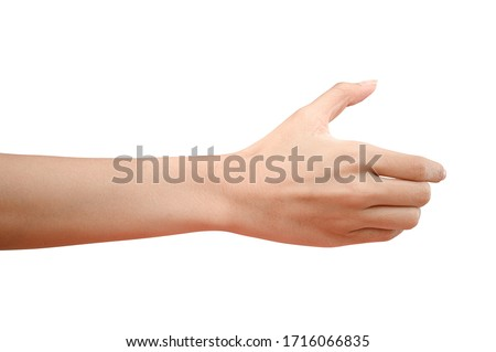Close up hand holding something like a bottle or can isolated on white background with clipping path.
