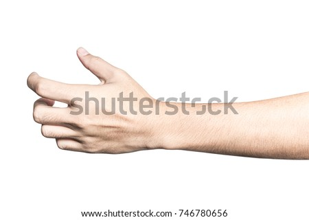Close up hand holding something like a bottle or can isolated on white background with clipping path. #746780656