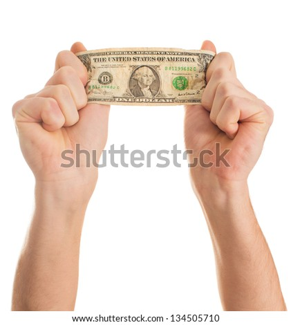 Close-up Hand Holding Us Dollars On White Background