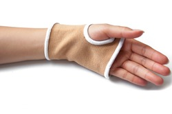Close-up hand splint for broken bone treatment isolated on white background