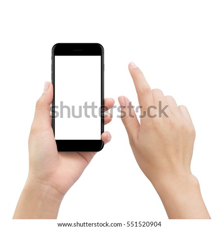 close-up hand touching smartphone screen isolated on white, mock up phone mobile blank screen easy adjustment with clipping path