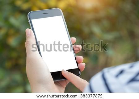 close up hand using phone white screen