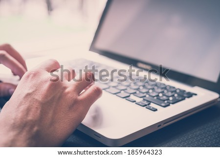 close up hands multitasking man using  laptop  connecting wifi #185964323