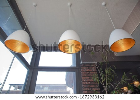 close up hanging black ceiling old lamp decoration luxury style . Interior design, indoor lamps and electricity concept - R ound lamp in a room, elegant modern home decor lighting. retro luxury light Stock fotó ©