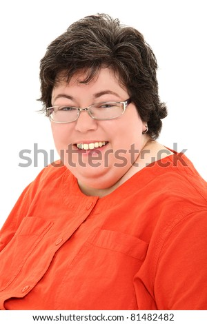 Close up Happy and Confident Obese Forties Woman Smiling