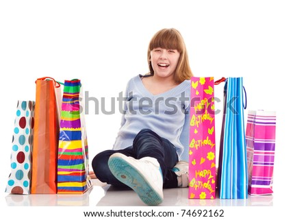 close up, happy teenager girl with gift, isolated on white