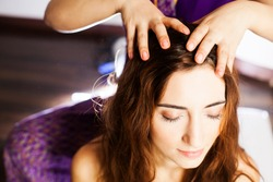 Close-up head massage