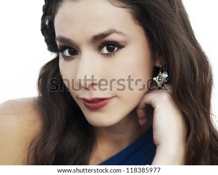 Close up head shot of attractive young woman