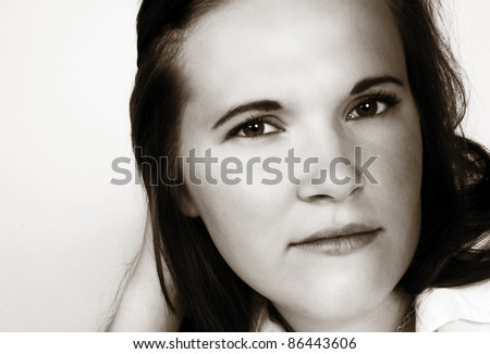 close up head shot of woman shot in the studio