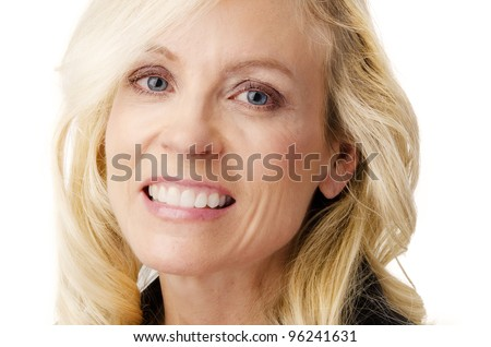 Close up head shot of woman smiling