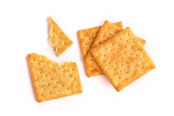 Close up healthy  whole wheat cracker on white background , top view or overhead shot