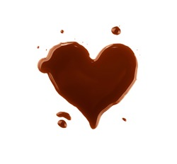 Close up heart shaped brown wet stain of coffee isolated on white background