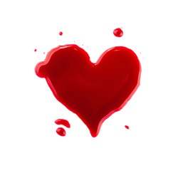 Close up heart shaped red wine wet stains and blob drops isolated on white background