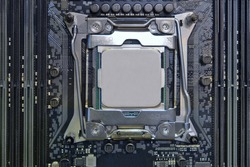 Close-up hight performance CPU processor installed on cpu socket on motherboard of computer desktop