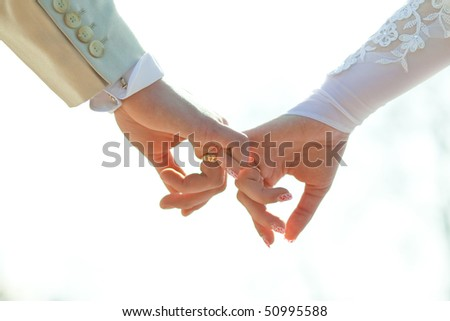 Close-up Holding Hands with Wedding Ring