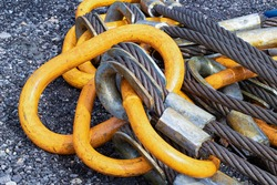 Close up hook sling wire rope on the floor