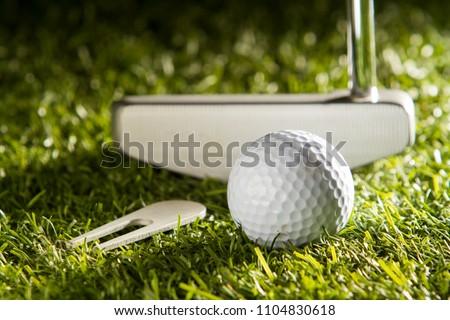 Close up horizontal shot of golf ball, putter and divot tool on green grass