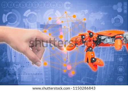 close up human finger touch robot finger like The Creation of Adam for next century new era future of robotic age concept