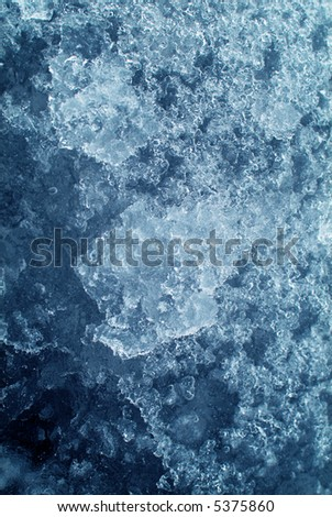 Close-up ice, blue, with great frozen patterns and textures.