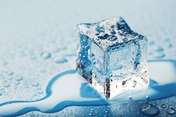 Close-up ice cubes with melt water drops scattered on a blue background.