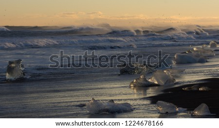 Stock Photo Close up icebergs on ice beach from glacier Iceland in winter