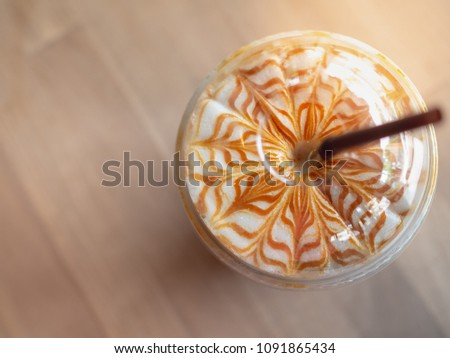 close up iced caramel macchiato ...