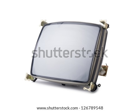 Close-up image of a broken TV screen in a white background