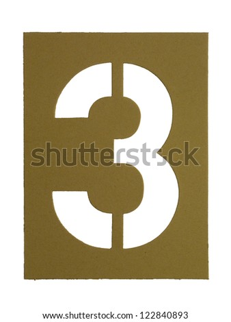 Close-up image of a cardboard with cut out number 3