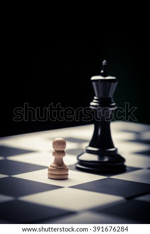 Close-up image of a chess board with chess pieces. #391676284