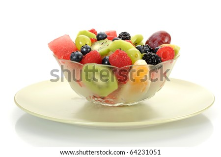 Close-up image of a fruit salad studio isolated on white background