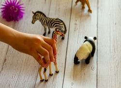Close up image of a kid's hands as she plays with toy animal figures on a wooden bench. She places, moves and does voice over with animals according to the story she makes up.