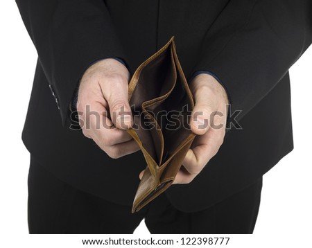 Close-up image of a man's hand showing an empty wallet over the white background