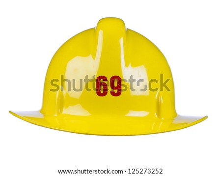 Close-up image of a shiny yellow fireman's helmet against the white background