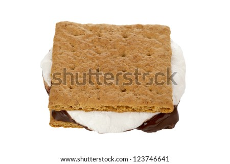 Close-up image of a smore displayed on white background.