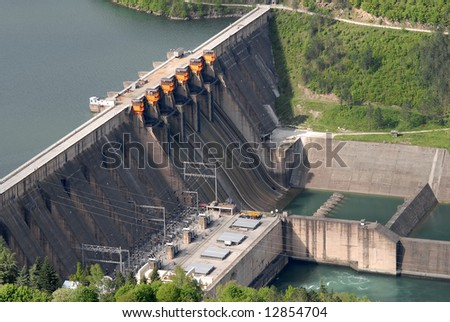 Close up image of a water barrier dam, river Drina, Serbia