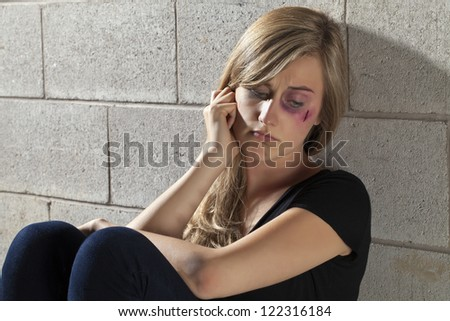 Close up image of abuse young woman