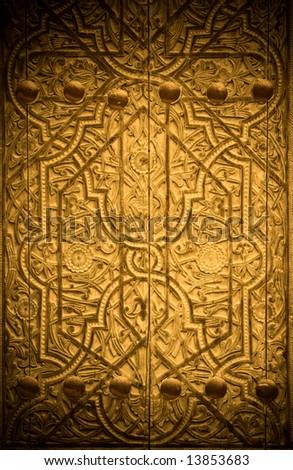 close-up image of ancient doors