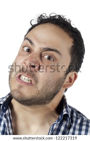 Close up image of angry face of a man against white background
