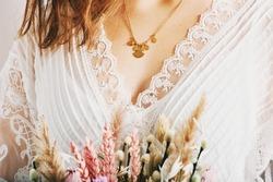 Close up image of beautiful woman wearing stylish necklace