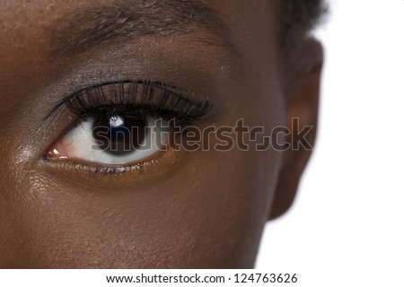 Close up image of black woman eye against white background