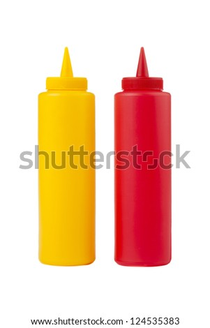 Close up image of bottles of mustard and ketchup against white background